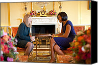 Michelle Obama Canvas Prints - Michelle Obama Greets Mrs. Ada Canvas Print by Everett