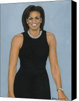 First Ladies Painting Canvas Prints - Michelle Obama Canvas Print by Henry Frison