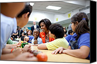 Michelle Obama Canvas Prints - Michelle Obama Joins Students Canvas Print by Everett
