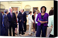 Barack Obama Portraits Canvas Prints - Michelle Obama Laughs With Guests Canvas Print by Everett