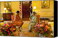 Michelle Obama Canvas Prints - Michelle Obama Meets With Mrs Canvas Print by Everett