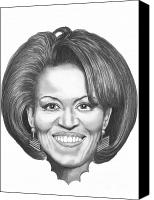 First Drawings Canvas Prints - Michelle Obama Canvas Print by Murphy Elliott
