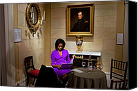 Michelle Obama Canvas Prints - Michelle Obama Prepares Before Speaking Canvas Print by Everett