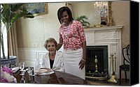 First Ladies Canvas Prints - Michelle Obama Visits With Former First Canvas Print by Everett