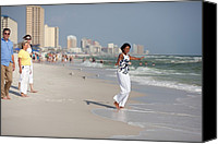 Michelle Obama Photo Canvas Prints - Michelle Obama Walks Barefoot Canvas Print by Everett