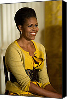Michelle Obama Photo Canvas Prints - Michelle Obama Wearing A J. Crew Canvas Print by Everett
