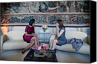 Meetings Canvas Prints - Michelle Obama With Carla Bruni-sarkozy Canvas Print by Everett