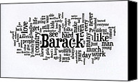 Michelle Obama Photo Canvas Prints - Michelle Obama Wordcloud at D N C Canvas Print by David Bearden