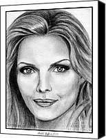 Michelle Drawings Canvas Prints - Michelle Pfeiffer in 2010 Canvas Print by J McCombie
