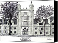 Michigan University Pen And Ink Building Drawing Canvas Prints - Michigan Canvas Print by Frederic Kohli