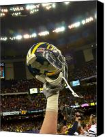 Team Canvas Prints - Michigan Helmet Held High Canvas Print by Replay Photos