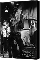 The Rolling Stones Canvas Prints - Mick Jagger 1970s London Canvas Print by Homer Sykes