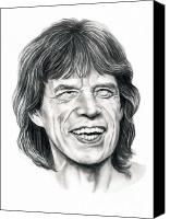Famous Drawings Canvas Prints - Mick Jagger Canvas Print by Murphy Elliott