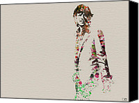 Portrait Canvas Prints - Mick Jagger watercolor Canvas Print by Irina  March