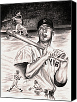 Baseball Players Canvas Prints - Mickey Mantle Canvas Print by Kathleen Kelly Thompson