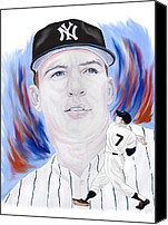 Major League Baseball Painting Canvas Prints - Mickey Mantle Canvas Print by Steve Ramer
