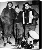 Accordion Canvas Prints - Mickey Rooney Center, Entertains Troops Canvas Print by Everett