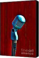 Background Canvas Prints - Microphone Canvas Print by Jill Battaglia