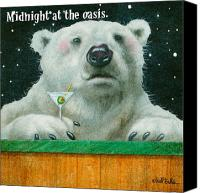 Polar Bear Canvas Prints - Midnight at the Oasis... Canvas Print by Will Bullas