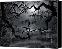 Scary Painting Canvas Prints - Midnight in the Graveyard II Canvas Print by James Christopher Hill