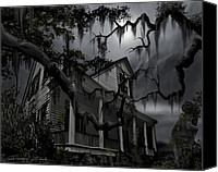 "\\\""haunted House\\\\\\\"" Canvas Prints - Midnight in the House Canvas Print by James Christopher Hill"