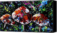 Forest Floor Painting Canvas Prints - Midnight Mushrooms Canvas Print by Joanne Abbott
