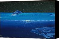 Whale Painting Canvas Prints - Midnight Canvas Print by Nick Flavin