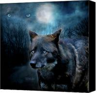 Animal Art Print Mixed Media Canvas Prints - Midnight Spirit Canvas Print by Carol Cavalaris