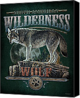 North American Wildlife Canvas Prints - Midnight Wolf Sign Canvas Print by JQ Licensing
