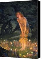Lamps Painting Canvas Prints - Midsummer Eve Canvas Print by Edward Robert Hughes