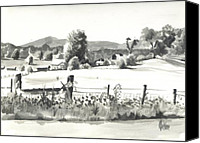 Arcadia Valley Drawings Canvas Prints - Midsummer View Out Route JJ   No I101 Canvas Print by Kip DeVore