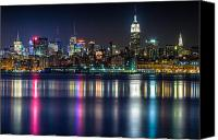Empire Photo Canvas Prints - Midtown Manhattan from Jersey City at Night Canvas Print by Val Black Russian Tourchin