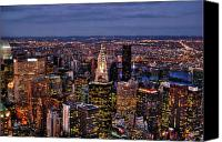 Nyc Photo Canvas Prints - Midtown Skyline at Dusk Canvas Print by Randy Aveille