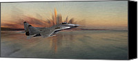 Approaching Canvas Prints - Mig 29 approaching Canvas Print by Stefan Kuhn