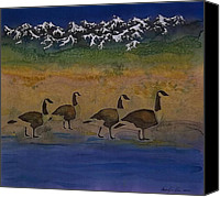 Dyes Tapestries - Textiles Canvas Prints - Migration series geese 2 Canvas Print by Carolyn Doe
