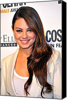 Wavy Hair Canvas Prints - Mila Kunis At Arrivals For Cosmopolitan Canvas Print by Everett