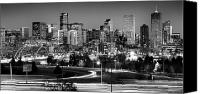 Black And White Canvas Prints - Mile High Skyline Canvas Print by Kevin Munro