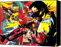Jazz Instruments Mixed Media Canvas Prints - Miles Canvas Print by Kevin Newton