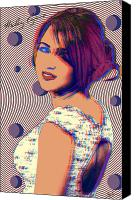 Montana Digital Art Canvas Prints - Miley Cyrus and Hannah Montana Canvas Print by VJay Seminiano