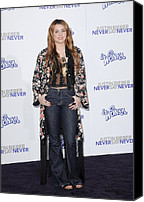 Nokia Theatre Canvas Prints - Miley Cyrus At Arrivals For Justin Canvas Print by Everett
