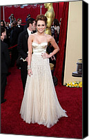 Academy Awards Oscars Canvas Prints - Miley Cyrus Wearing A Jenny Packham Canvas Print by Everett