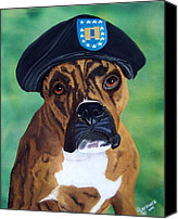 Boxer Canvas Prints - Military Boxer Canvas Print by Debbie LaFrance
