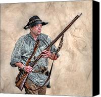 American Revolution Canvas Prints - Militia Ranger Scout Portrait Canvas Print by Randy Steele