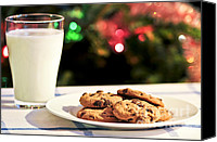 Snack Canvas Prints - Milk and cookies for Santa Canvas Print by Elena Elisseeva