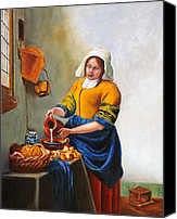Figurative Art Canvas Prints - Milk Maid After Vermeer Canvas Print by Enzie Shahmiri