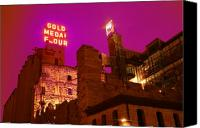 Old Buildings Canvas Prints - Mill City at Night Canvas Print by Heidi Hermes