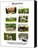 Historical Drawings Canvas Prints - Mill Creek Park Collage Canvas Print by Michael Vigliotti