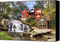 Grist Mill Canvas Prints - Mill Shoals Falls - WNC Blue Ridge Waterfalls Canvas Print by Dave Allen