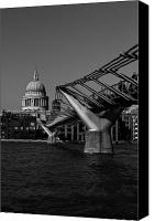 Christopher Wren Canvas Prints - Millenium Bridge and St Pauls Cathedral Canvas Print by David Pyatt