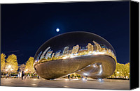 Silver Canvas Prints - Millennium Park - Chicago IL Canvas Print by Drew Castelhano